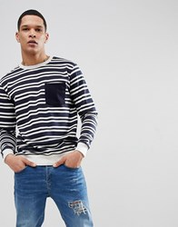 Soul Star Stripe Pocket Sweat Navy