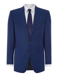 Simon Carter Twill Solid Regular Fit Suit Jacket Bright Blue