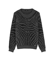 Diesel Crepes Zebra Stripe Jumper Black Black