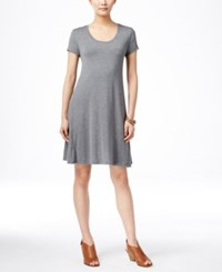 Styleandco. Style And Co. Petite Short Sleeve A Line Dress Only At Macy's Mid Heather Grey