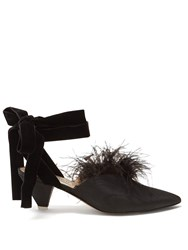 Attico Marabou Feather Mid Heel Pumps Black