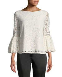 Laundry By Shelli Segal Lace Blouse With Bell Sleeves Pink