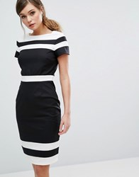 Paper Dolls Panelled Pencil Dress In Contrast Stripe Black White