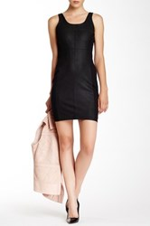 My Tribe Genuine Leather Panel Sheath Dress Black