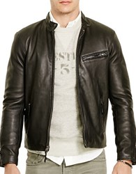 Polo Ralph Lauren Leather Cafe Racer Jacket Polo Black
