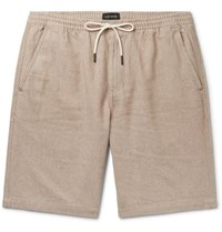 Club Monaco Slim Fit Linen And Cotton Blend Twill Drawstring Shorts Sand