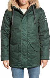 Men's Hoodlamb Water Resistant Hemp And Organic Cotton Hooded Parka With Faux Fur Lining Dark Army