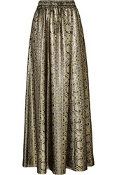 Vanessa Seward Mira Silk Blend Lame Maxi Skirt Silver Metallic