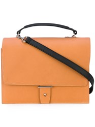 Pb 0110 Top Handle Tote Women Calf Leather One Size Yellow Orange
