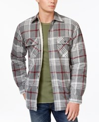 Club Room Plaid Button Front Shirt Jacket Only At Macy's Medium Grey Heather