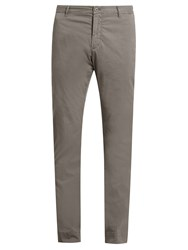 J.W.Brine Owen Cotton Blend Gabardine Chino Trousers Mid Grey