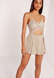 Missguided Lace Cut Out Playsuit Grey Grey