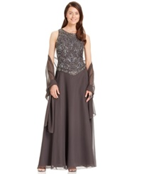 J Kara Embellished Empire Waist Gown And Shawl Slate