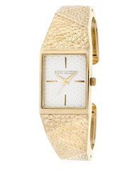 Steve Madden Hammered Geo Metal Cuff Watch Gold