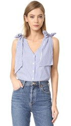 J.O.A. Sleeveless Woven Top Blue White