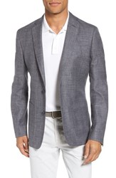 Monte Rosso Trim Fit Wool Blend Blazer Charcoal