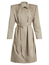Balenciaga Exaggerated Shoulder Twill Trench Coat Beige