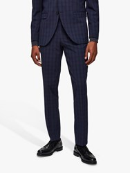 Selected Homme Check Slim Fit Suit Trousers Navy