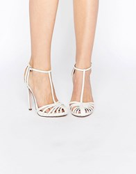 Asos Peace Bridal Caged High Heels Ivory Snake White