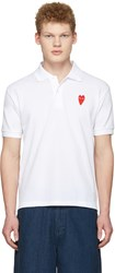 Comme Des Garcons Play White Long Heart Patch Polo