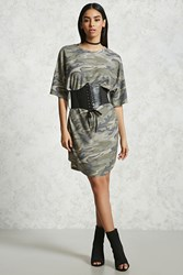 Forever 21 Belted Camo T Shirt Dress Olive Taupe