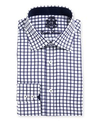 English Laundry Windowpane Check Textured Dress Shirt Navy