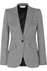 Alexander Mcqueen Prince Of Wales And Houndstooth Checked Wool Blazer Black