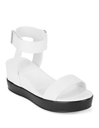 French Connection Petja Leather Wedge Platform Sandals Summer White