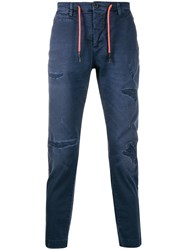 Frankie Morello Drawstring Denim Jeans Blue
