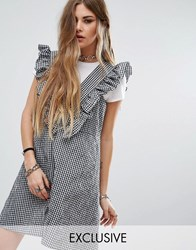Reclaimed Vintage Frill Pinny Dress In Gingham Multi