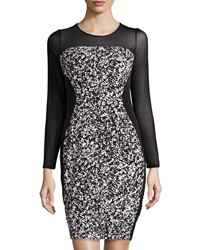 Muse Abstract Print Mesh Sleeve Dress Black White