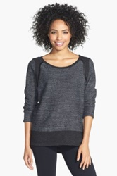 Solow Quilted Faux Leather Trim Step Hem Boucle Moto Sweater Black