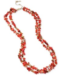 Kenneth Cole Coral Canyon Gold Tone Red Chip Bead Necklace