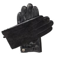 Dents Mens Leather Gloves With Suede Back Black