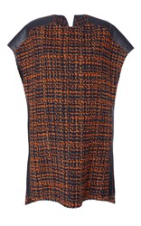 Agnona Tweed Tunic With Leather Details Navy