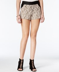 Be Bop Juniors' Lace Paneled Shorts Natural Gold