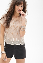 Forever 21 Sheer Beaded Blouse