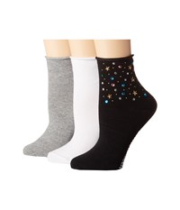 Steve Madden 3 Pack Roll Top Anklets With Mixed Stones Black White Grey Crew Cut Socks Shoes