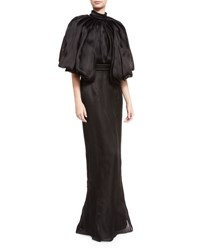 Brandon Maxwell Flounce Sleeve Open Back Silk Gown Black