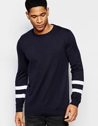 Asos Jumper In Cotton With Contrast Sleeve Detail Navy