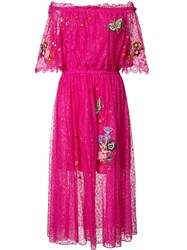 Temperley London Butterfly Patch Flared Dress Pink Purple