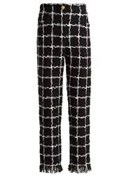 Balmain High Rise Checked Tweed Trousers Black White