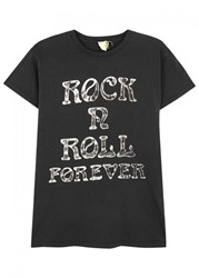 Madeworn Rock N Roll Printed Cotton T Shirt Black
