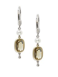 Meira T White Pearl Diamond And Olive Quartz Drop Earrings White Gold