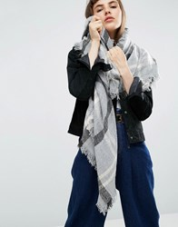 Asos Oversized Square Scarf In Overprinted Dogstooth Grey