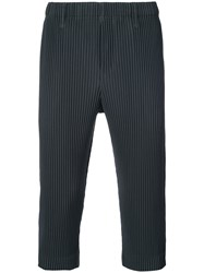 Homme Plisse Issey Miyake Pleated Cropped Trousers Polyester Grey