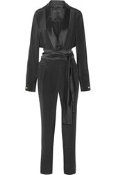 Michael Lo Sordo Wrap Effect Satin Trimmed Silk Crepe De Chine Jumpsuit Black
