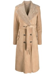 Desa 1972 Double Breasted Shearling Coat Brown
