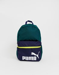 Puma Phase Back Pack In Green Color Block Green