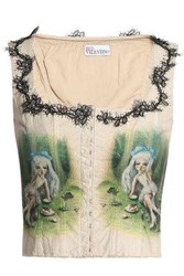 Red Valentino Lace Up Printed Cotton Vest Beige
